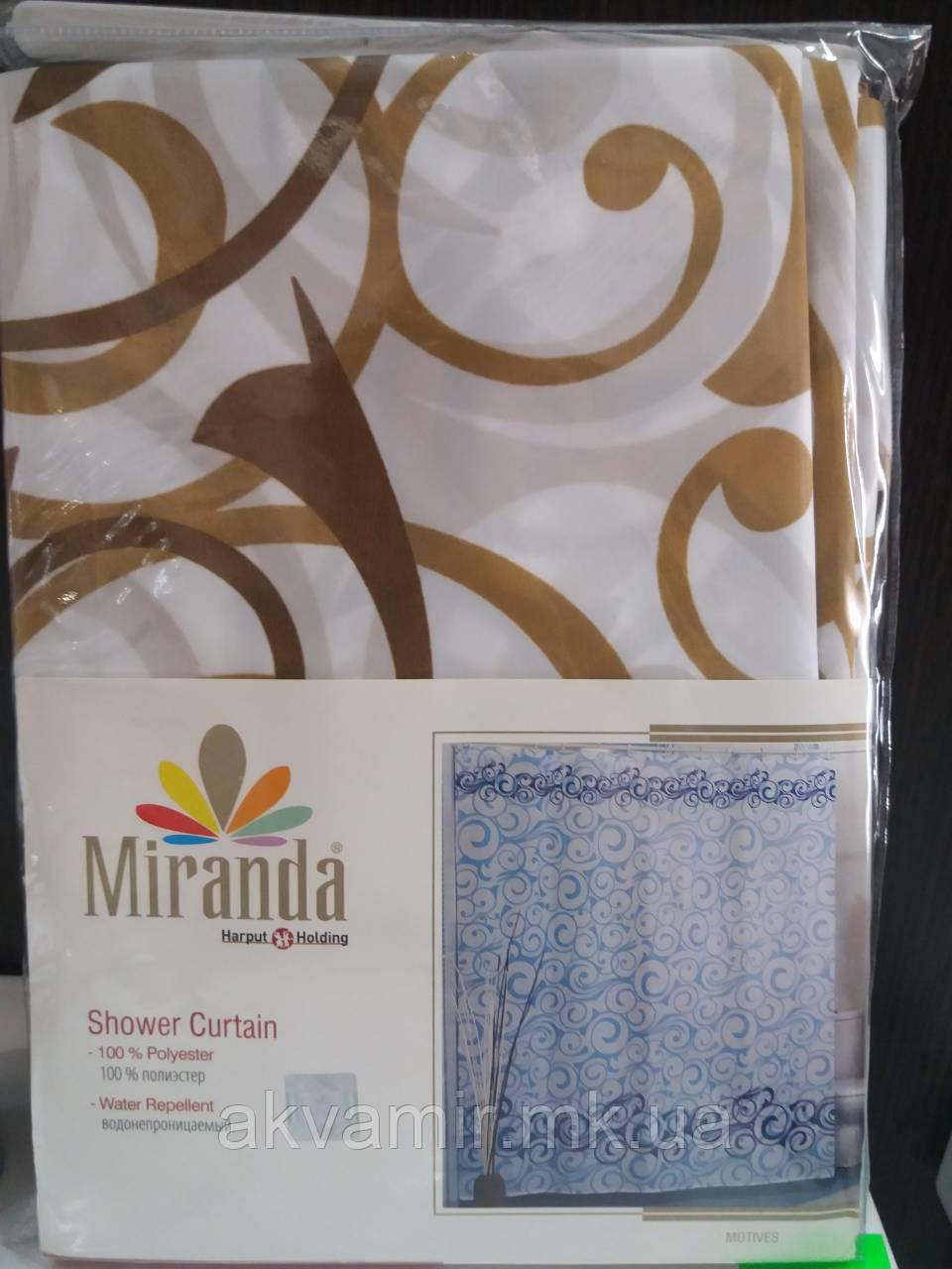 Штора в ванную  Miranda MOTIVES (Турция) 180х200 см бежевая