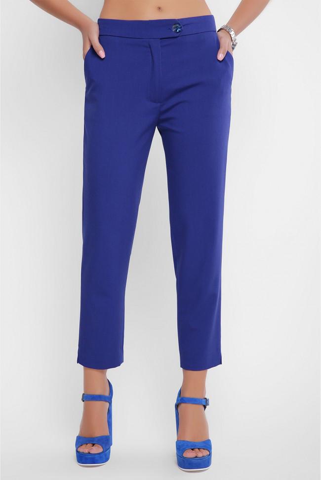 Укороченные женские брюки с карманами синее