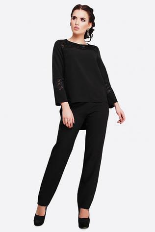 ddd7719f136 Нарядный женский костюм двойка с гипюром черный - купить по лучшей ...