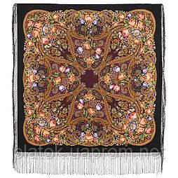 Ненаглядная 1025-19, павлопосадский платок (шаль) из уплотненной шерсти с шелковой вязанной бахромой
