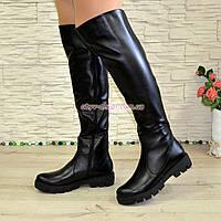 Ботфорты женские кожаные черные зимние на тракторной подошве, фото 1