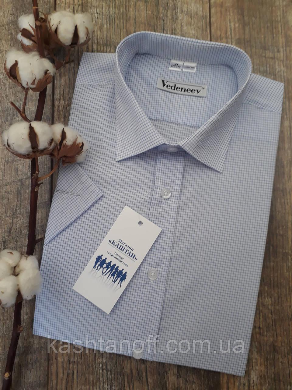 Мужская рубашка белая в мелкую синюю клеточку короткий рукав