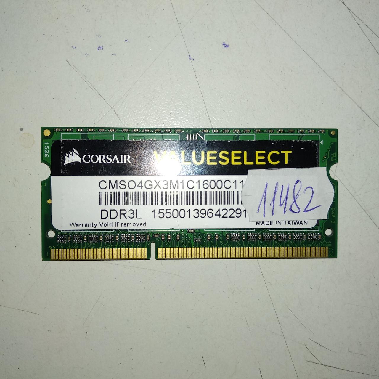 Оперативная память для ноутбука ОЗУ SODIMM DDR3 4Gb 12800 PC3L Corsair