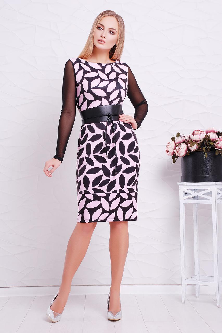 Платье Лоя-3ФСП Glem M Светло-розовый с черным