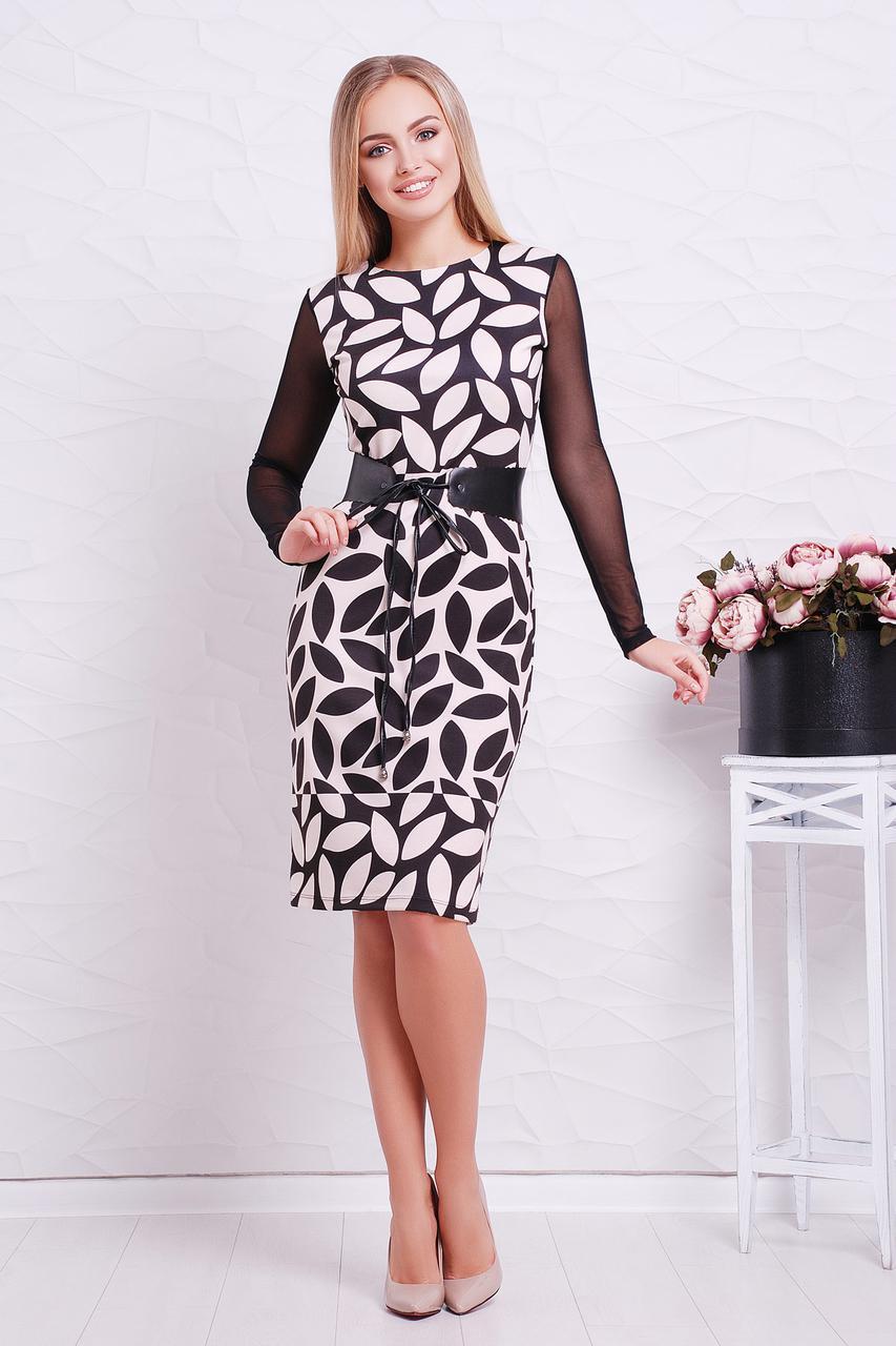 Платье Лоя-3ФСП Glem M Бежевый с черным