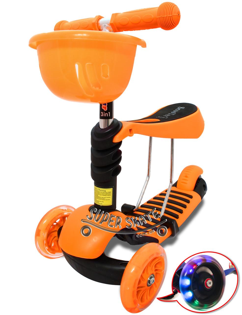 Трехколесный Самокат/Беговел Scooter Simple - 3в1