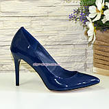Туфли женские лаковые на шпильке, синий цвет, фото 2