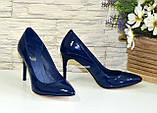 Туфли женские лаковые на шпильке, синий цвет, фото 3
