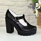 Женские кожаные туфли на высоком устойчивом каблуке, фото 2