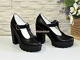 Женские кожаные туфли на высоком устойчивом каблуке, фото 3