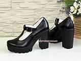 Женские кожаные туфли на высоком устойчивом каблуке, фото 4