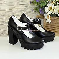 Женские кожаные туфли на высоком устойчивом каблуке, фото 1