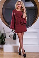 Дизайнерское мини платье цвета марсала Д-1640