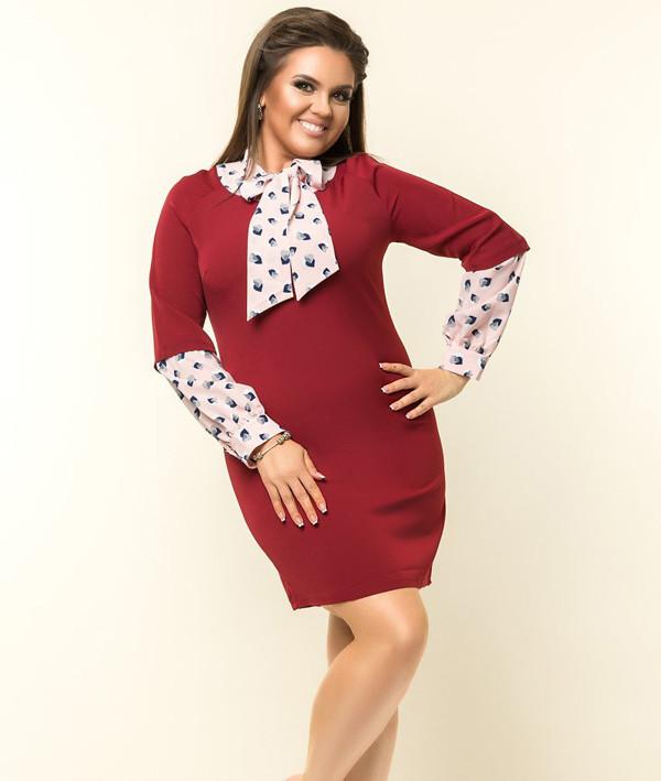 """Элегантное женское q платье с воротником-бантом  ткань """"Костюмная ткань"""" 48 размер батал"""