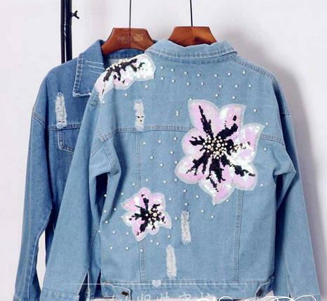 Джинсовая куртка с вышивкой на спинке из пайеток и бусин 42-46 р, фото 2