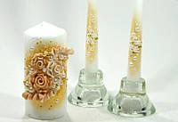 Свадебные свечи очаг+венчальные С-105