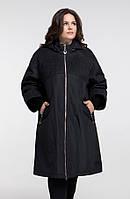 Трапециевидный демисезонный женский модный плащ свободного кроя черного цвета большого 52 размера