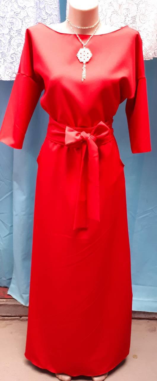7b2d11ae51c Шикарное красное платье в пол с длинным рукавом размер 44-46