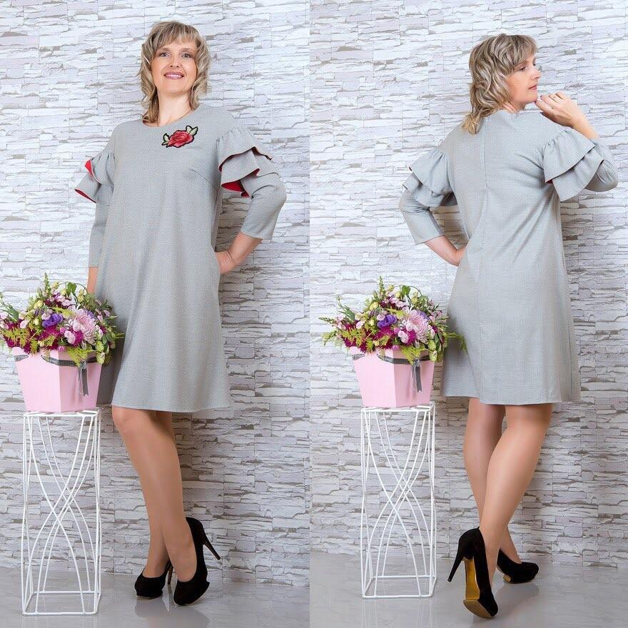 """Элегантное женское платье с воланами на рукавах ткань """"Костюмная ткань"""" 48 размер батал"""