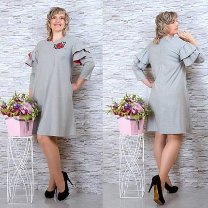 """Элегантное женское платье с воланами на рукавах ткань """"Костюмная ткань"""" 48 размер батал, фото 2"""