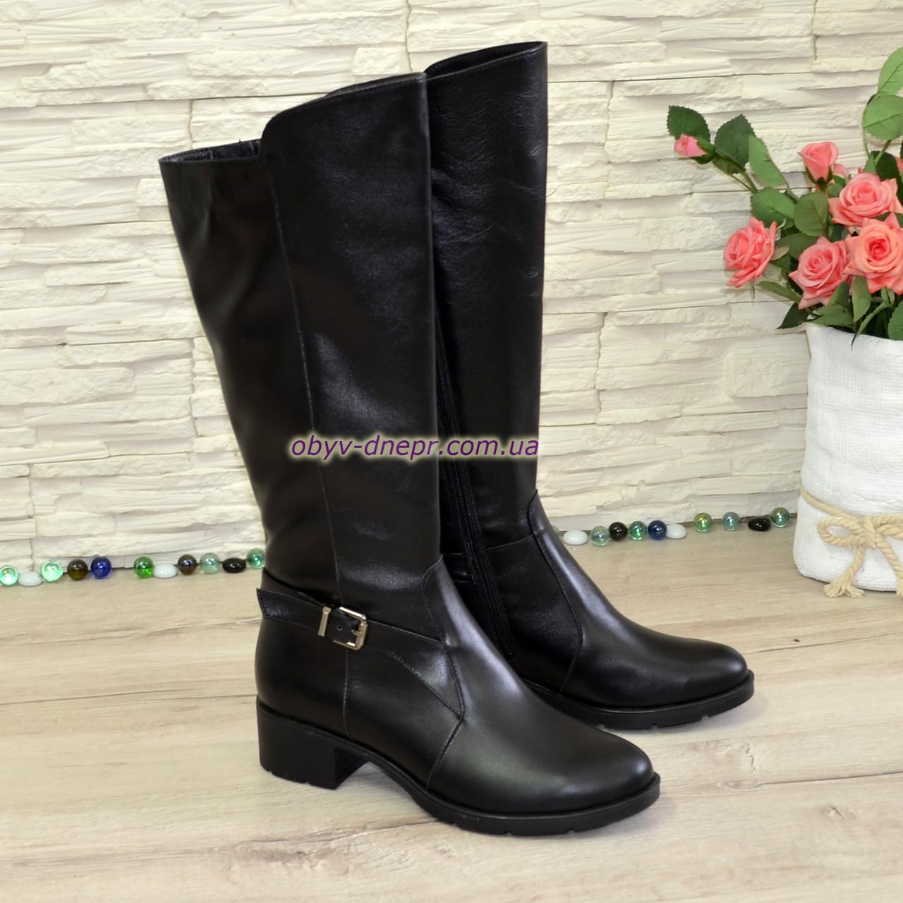 Сапоги женские демисезонные на невысоком каблуке, натуральная черная кожа.