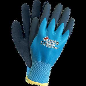 Защитные перчатки DEEPBLUE-WIN покрыты высокпрочным латексом, черно-голубого цвета. REIS