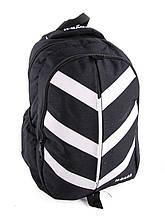 Мужской спортивный вместительный рюкзак в полоску черный
