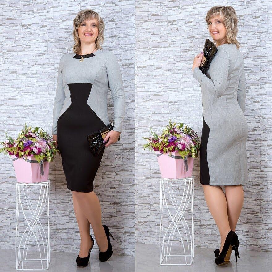 """Стильное женское деловое платье ткань """"Костюмная"""" 48, 50, 52, 54 размер батал"""