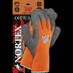 Защитные рукавицы NORTEXPS покрыты латексом, выполнены из акриловой пряжи,серо-оранжевого цвета.REIS