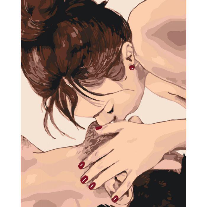 Раскрашивание по номерам Нежный поцелуй KHO4509 Идейка 40 х 50 см (без коробки)