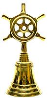 Колокольчик со штурвалом бронзовый 12,5 см
