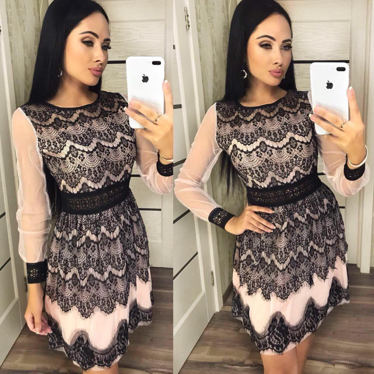 """Вечернее женское платье ткань """"Фатин кружево"""" 42, 44, 46 размер норма"""