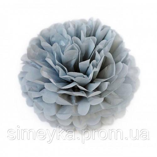 Помпон для святкового декору із паперу тішью, діаметр 30 см. Сірий