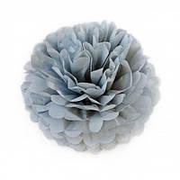 Помпон для святкового декору із паперу тішью, діаметр 30 см. Сірий, фото 1