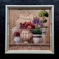 """Квадратный поднос кухонный из натурального дерева с керамикой и ручками прованс """"Лаванда. Горшочек"""""""