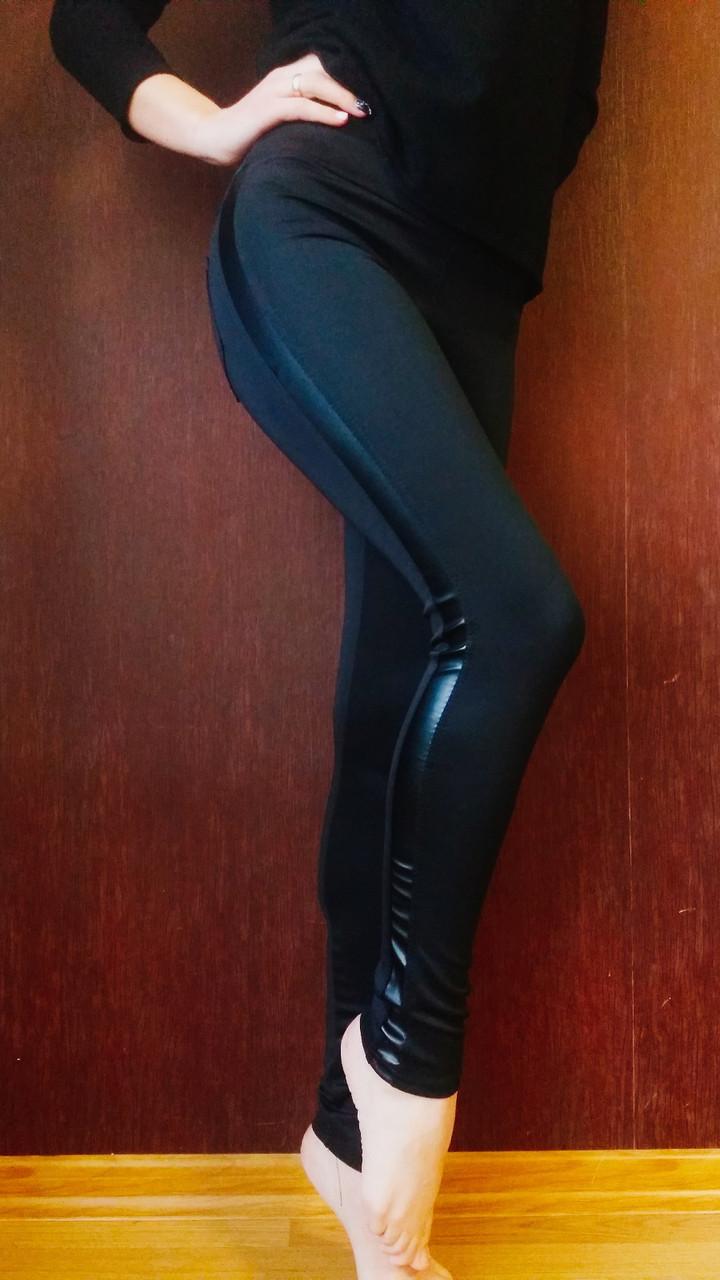 Лосины женские  с кожаными вставками № 031 НА ФЛИСЕ (норма)