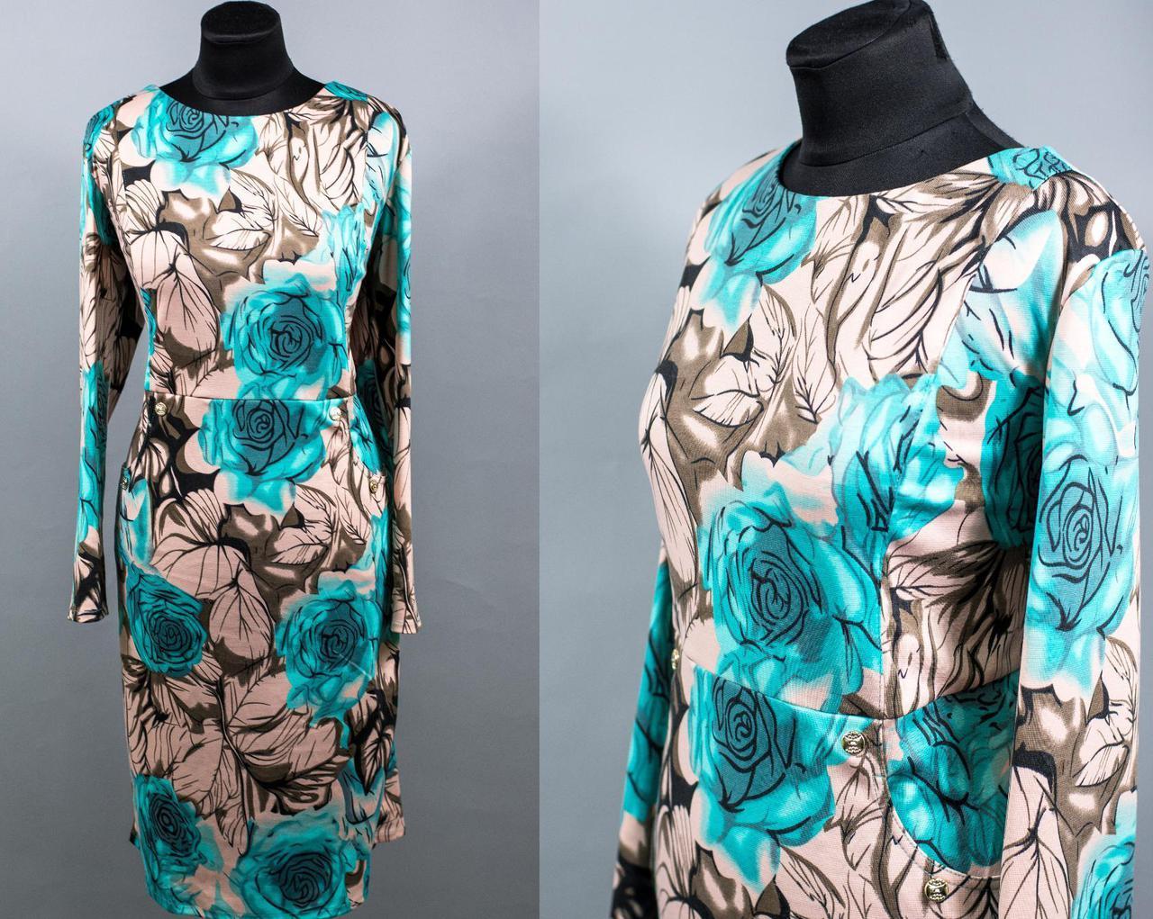 """Трендовое женское платье ткань """"Французский трикотаж"""" 54, 56, 58 размер баталы"""
