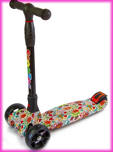 Самокаты для детей от 3 лет со светящимися колесами Scooter Smart Цветочки