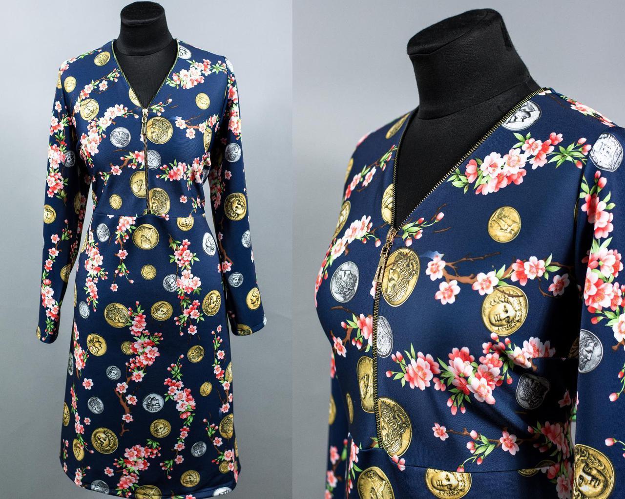 """Женское платье ткань """"Дайвинг"""" размер 54, 56, 58, 60 батал"""