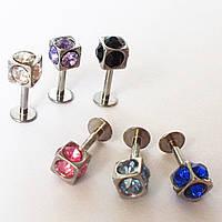 """Для пирсинга козелка уха """"Кубик с кристаллами"""", микроштанга 6 мм. Медицинская сталь., фото 1"""