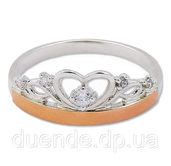 Серебряное кольцо с золотой пластиной / Mz 30503