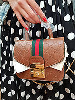 Стильная женская маленькая сумочка в стиле гуччи на цепочке