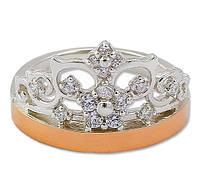 Серебряное кольцо с золотой пластиной / Mz 30505