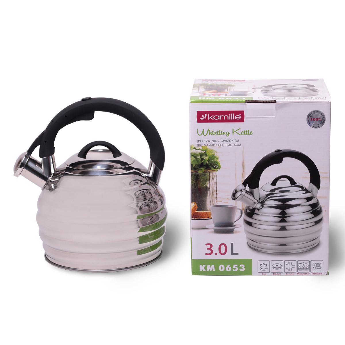 Чайник Kamille 3л з нержавіючої сталі зі свистком і чорною бакелітовою ручкою для індукції і газу KM-0653