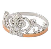 Серебряное кольцо с золотыми пластинами / Mz 30506