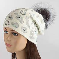 Белая шапка с помпоном и стразами Сафари