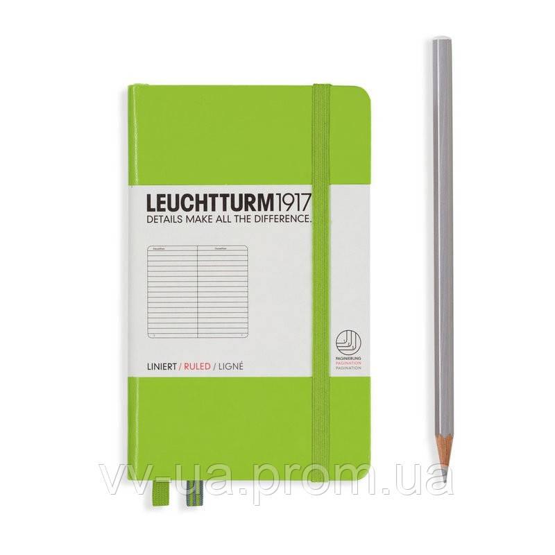 Записная книга Leuchttrum карманная, твердая обл., лайм, линия (338735)