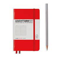 Записная книга Leuchttrum карманная, твердая обл., красный, линия (308998), фото 1