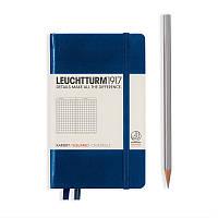 Записная книга Leuchttrum карманная, твердая обл., темно-синий, клетка (342919), фото 1