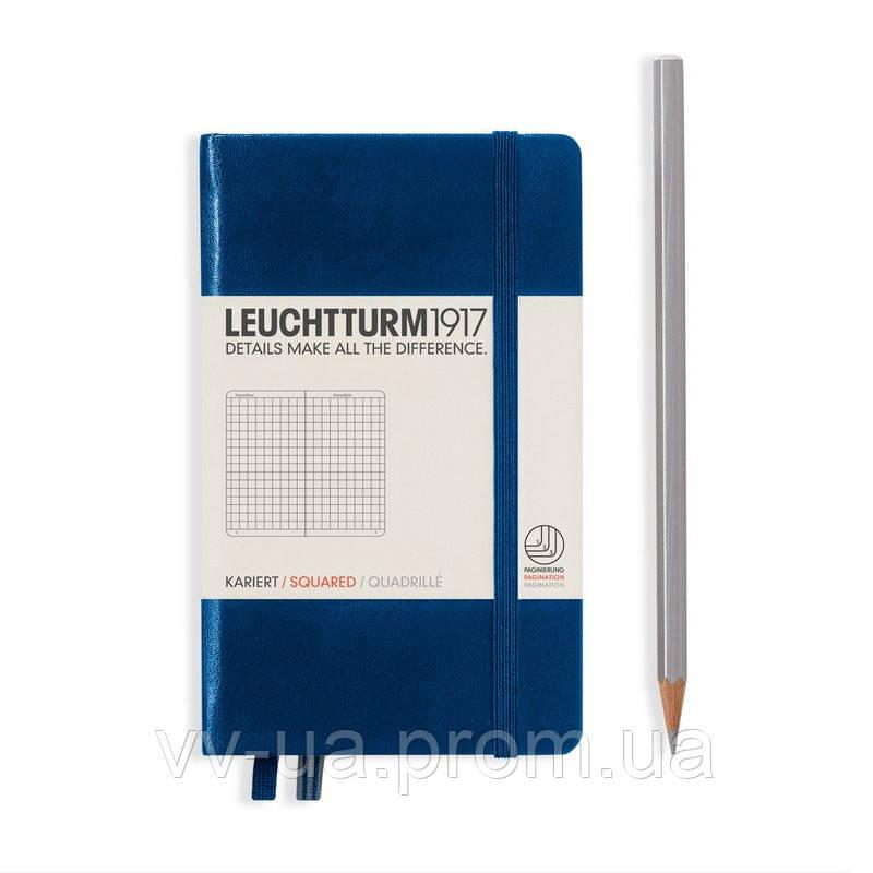 Записная книга Leuchttrum карманная, твердая обл., темно-синий, клетка (342919)